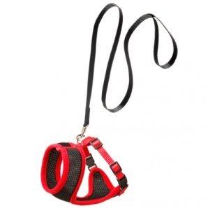 Ensemble laisse et harnais pour chat Original Harms noir et rouge