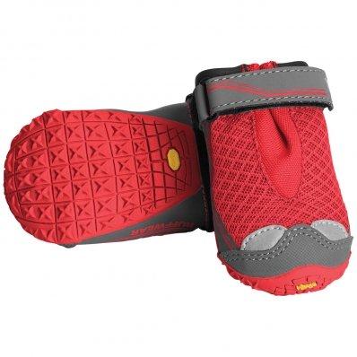 Lot de 4 bottines pour chien Ruffwear Grip Trex rouge