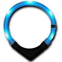 Collier lumineux pour chien LEUCHTIE Premium bleu glacier