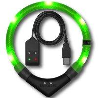 Collier lumineux pour chien LEUCHTIE Premium Easy Charge vert fluo
