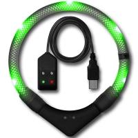 Collier lumineux pour chien LEUCHTIE Premium Easy Charge vert transparent