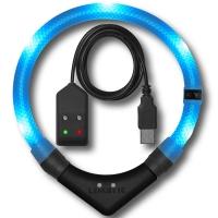 Collier lumineux pour chien LEUCHTIE Premium Easy Charge bleu glacier