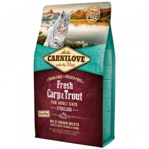 Croquettes chat CARNILOVE Adult Sterilised Fresh Carp & Trout