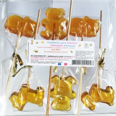 Sucettes animaux au miel